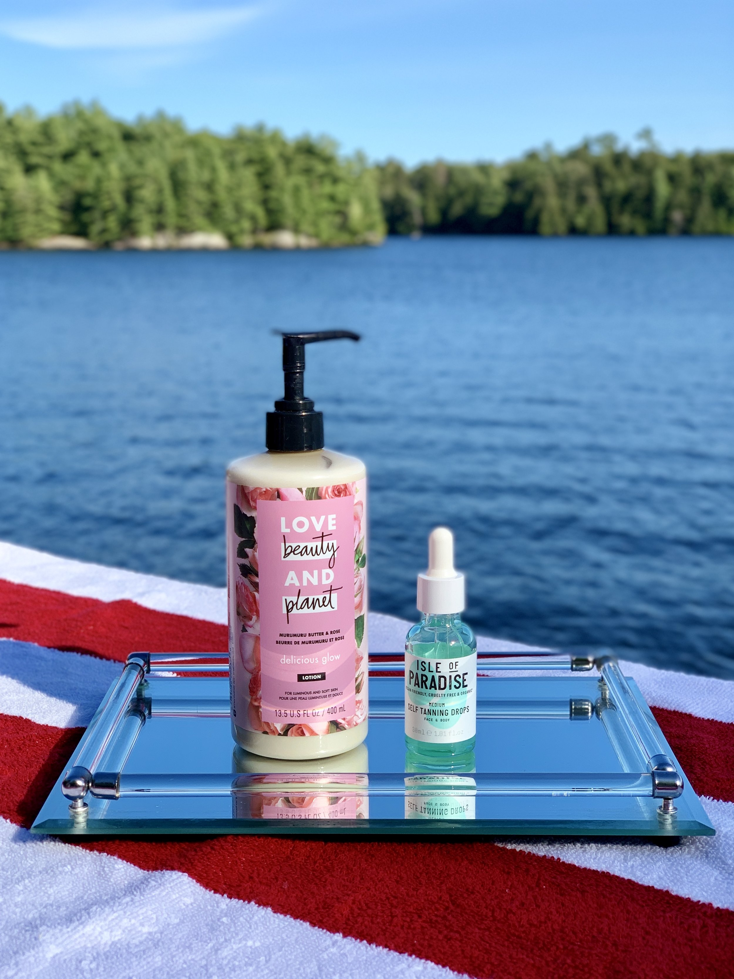 (Products L to R: Love, Beauty and Planet Murumuru Butter and Rose Lotion, Isle of Paradise Self Tanning Drops shade Medium)