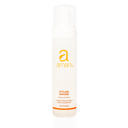 VOLUME & SHINE CONTAINS WHEAT PROTEIN AND PROVITAMIN B5 Amani Styling Mousse provides hairstyles with structure, volume, shine and long lasting hold.