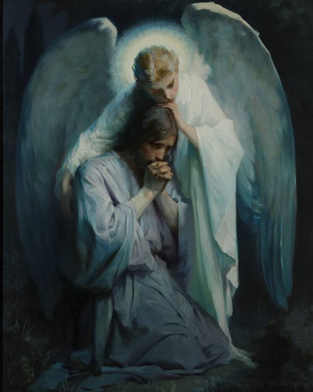 Agony in the Garden by Frans Schwartz  Today I'm remembering His matchless infinite love for each one of us as He suffered in the garden in Gethsemane.