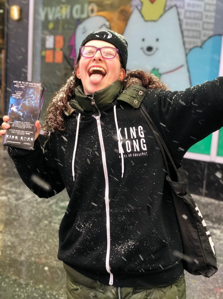 Broadway Crew team member Tova Frank having a blast in the snow.