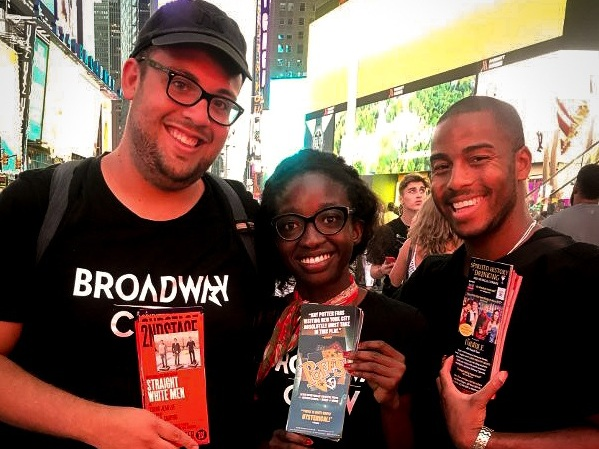 Some of our favorite Broadway Crew street team members representing their shows at TKTS!
