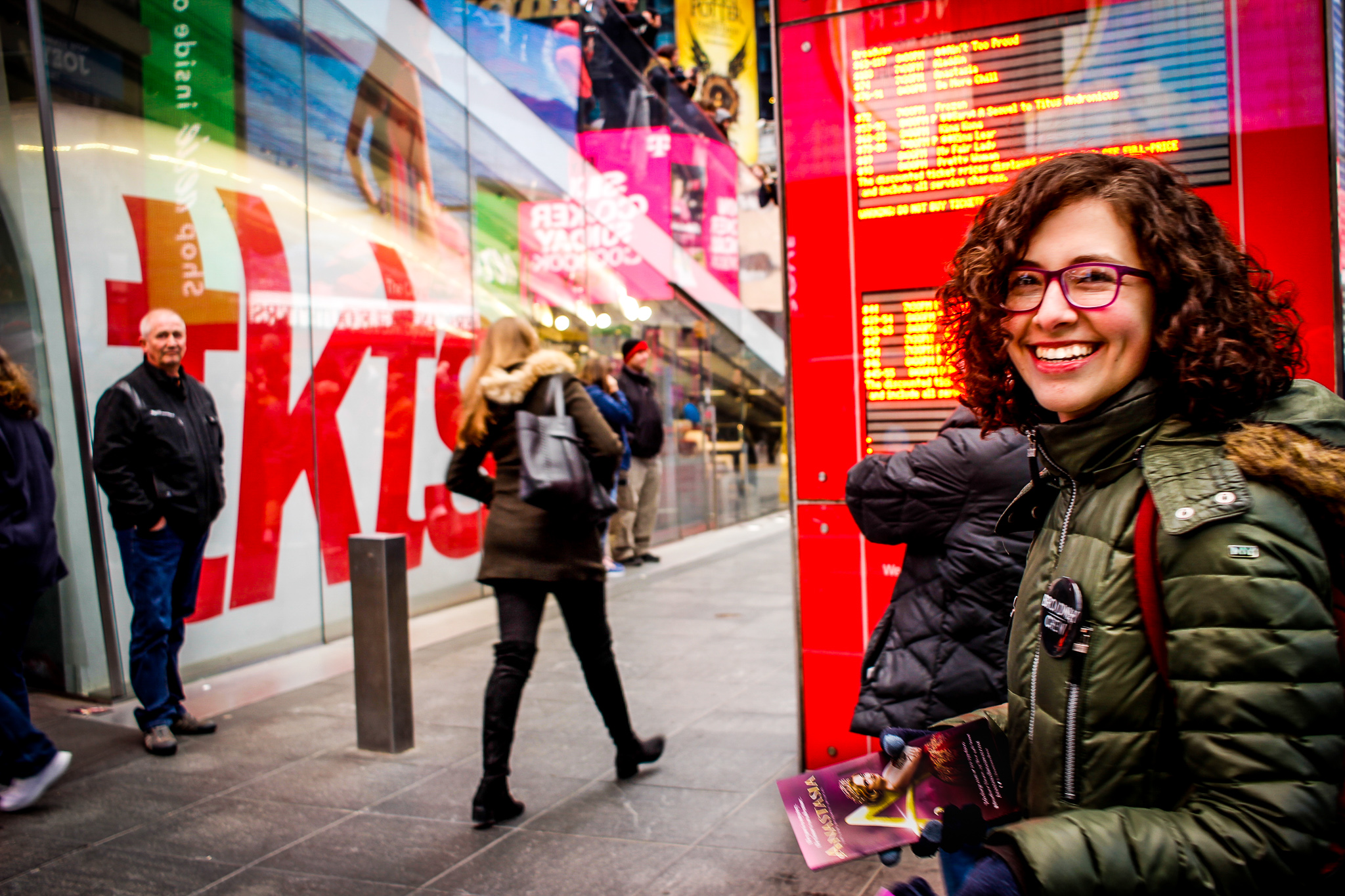 Our awesome crew member Tova having a blast at the TKTS booth in Times Square.