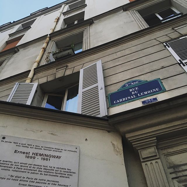 Two weeks ago, I was standing in front of this building...a little awe-struck. #hemingway #paris #leftbank #amoveablefeast