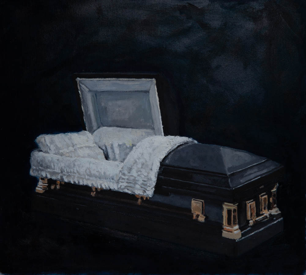 """My Little Brother's Casket 25"""" x 23"""" Oil on Canvas"""