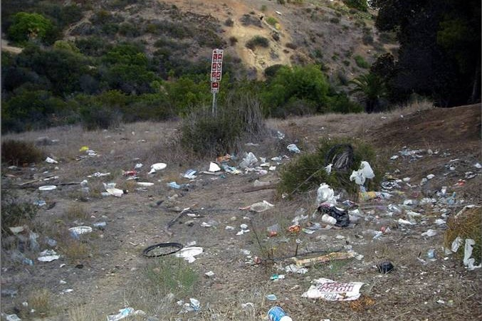 BEFORE:  Swan Canyon in City Heights in 2007 filled with trash and invasive plants. This is directly adjacent to Hamilton Elementary School.
