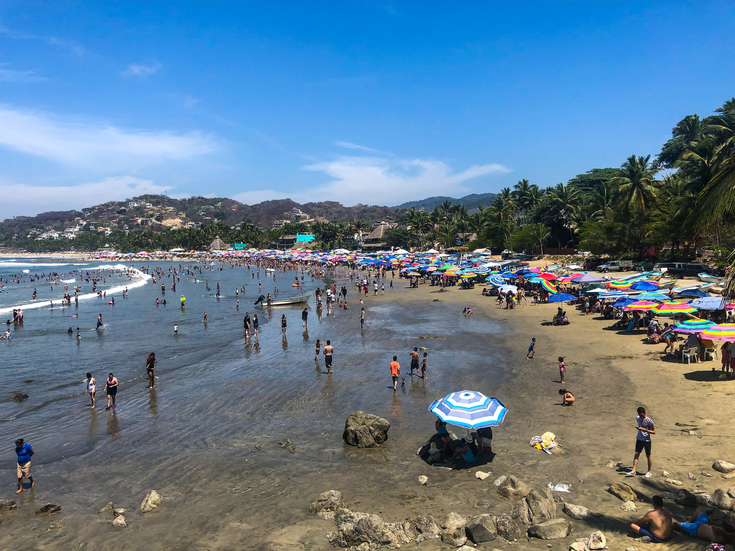 The beaches were packed