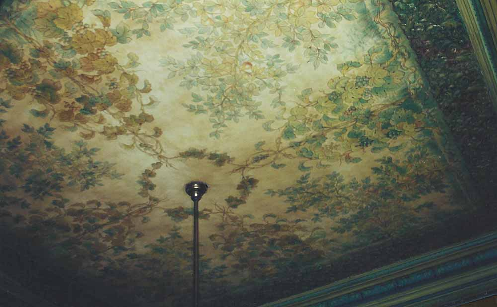 Conservation of original painted canvas ceiling