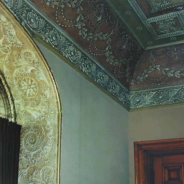 Reitz Home - 1871, Evansville, Indiana2003-Replication of missing Moorish style decoration in secondary hall. Included the manufacture of flocked wallpaper design to match existing historical wallpaper in main hall. Recreation of pastiglia frieze.More