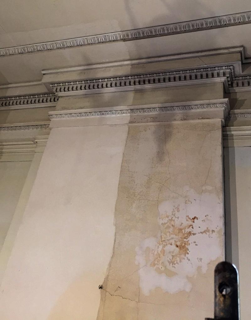 Conservation sample (on left) retains original paint