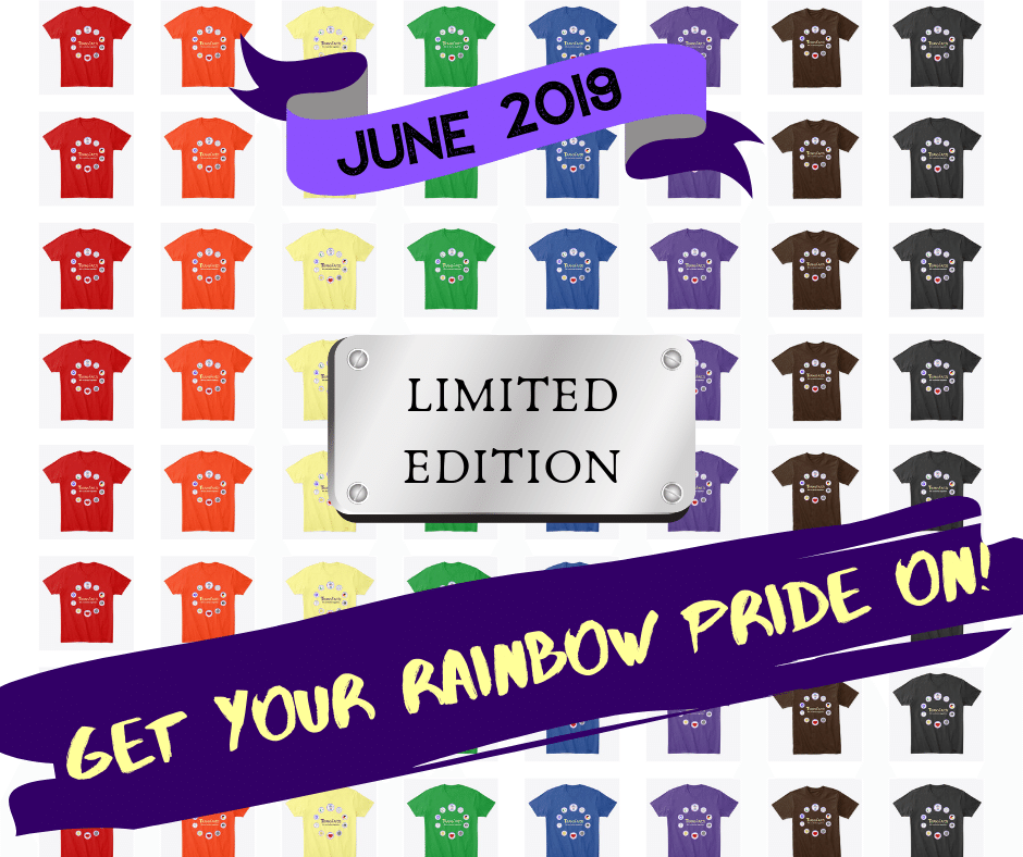 Pride Sale! - Purple isn't your color? This is your chance to get Transfaith gear in a color that suits you! T-shirts and tank tops to show your PRIDE about transgender brilliance and resilience. Rainbow colors are only available through June 2019!