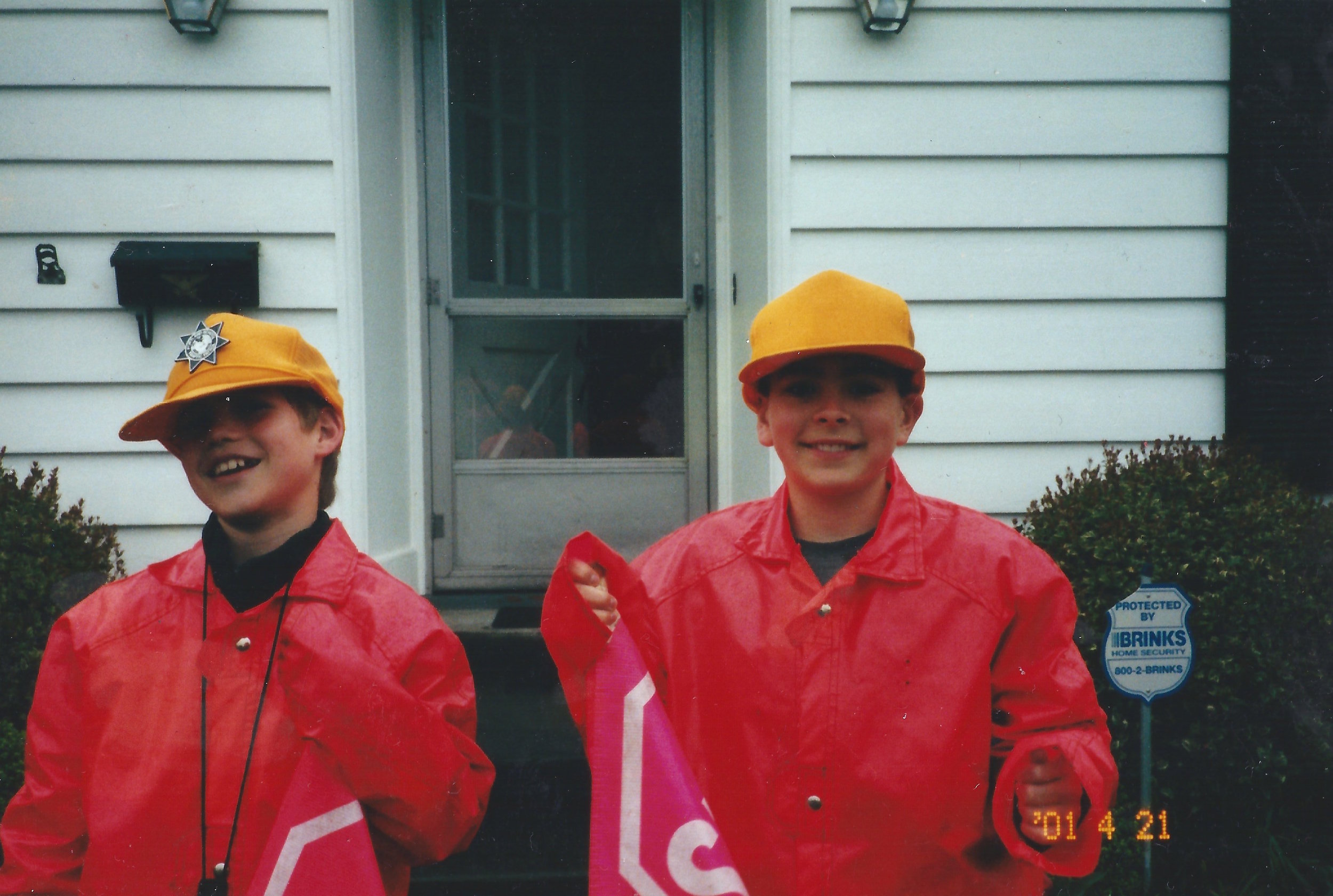 Roby and Ariel working their first job together: Glencoe Elementary School safety patrol, 2001.