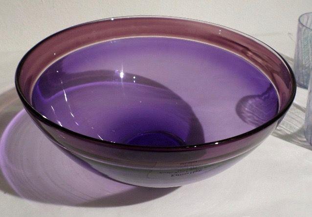 """""""Purple/Rose Encalmo Bowl"""" blown glass 9"""" x 4 1/2"""" $225"""
