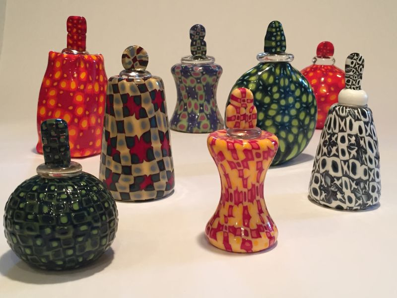 """Reliquaries"" murrine with stopper approx 5"" x 3"" $225 each"