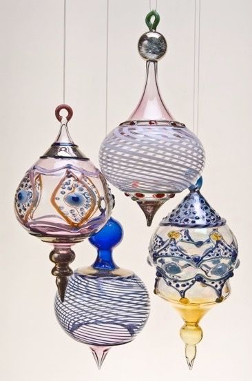 """Ornaments"" lamp worked glass, various sizes. Available November and December."