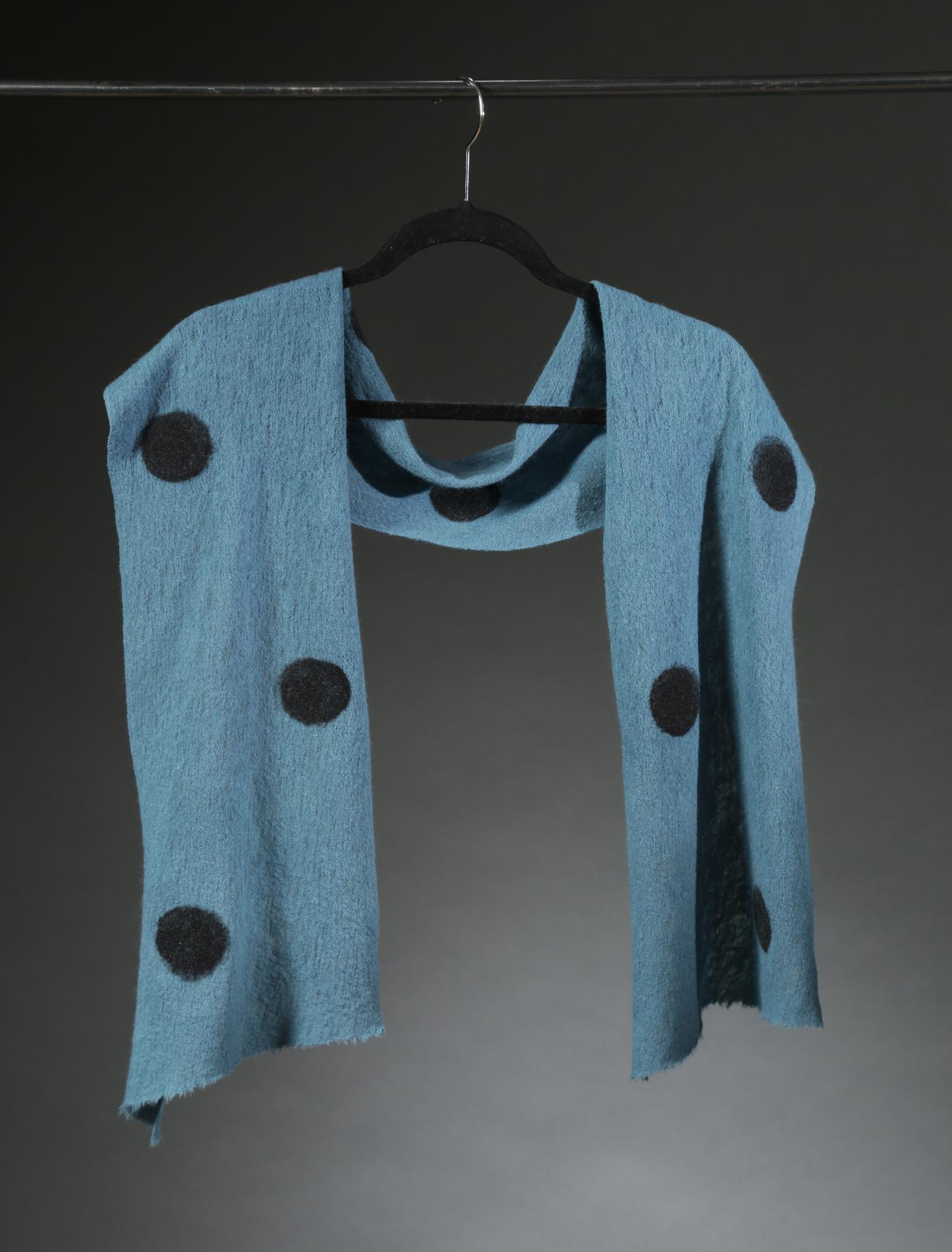 """""""Wool Knit Dot Scarf 2"""", Textile, 66"""" X 11"""", $175"""