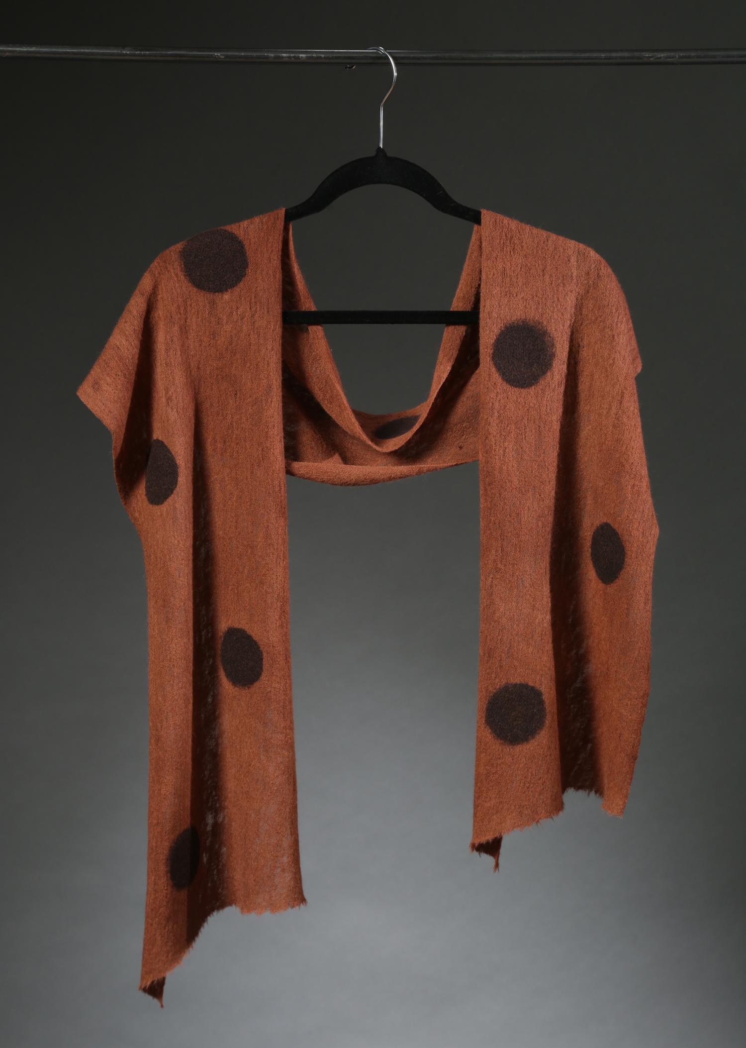 """""""Wool Knit Dot Scarf 3"""", Textile, """"66"""" X 11"""" $175"""