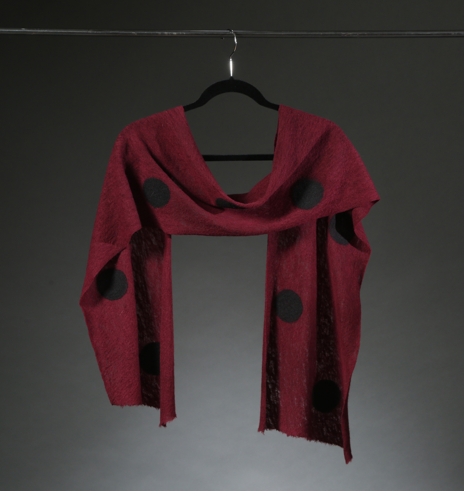 """""""Wool Knit Dot Scarf 4"""", Textile """"66"""" X 11"""", $175"""