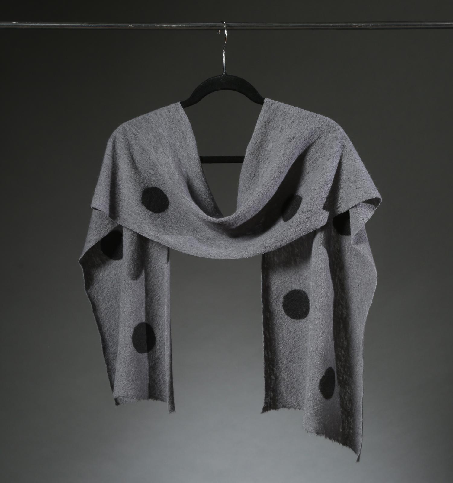 """""""Wool Knit Dot Scarf 5"""", Textile """"66"""" X 11"""" $175"""