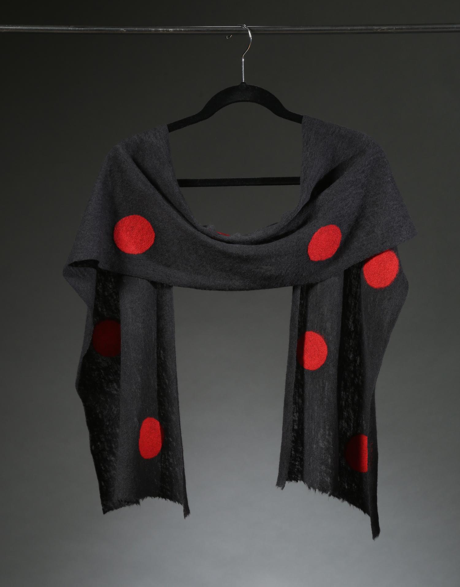 """""""Wool Knit Dot Scarf 6"""", Textile """"66"""" X 11"""" $175"""