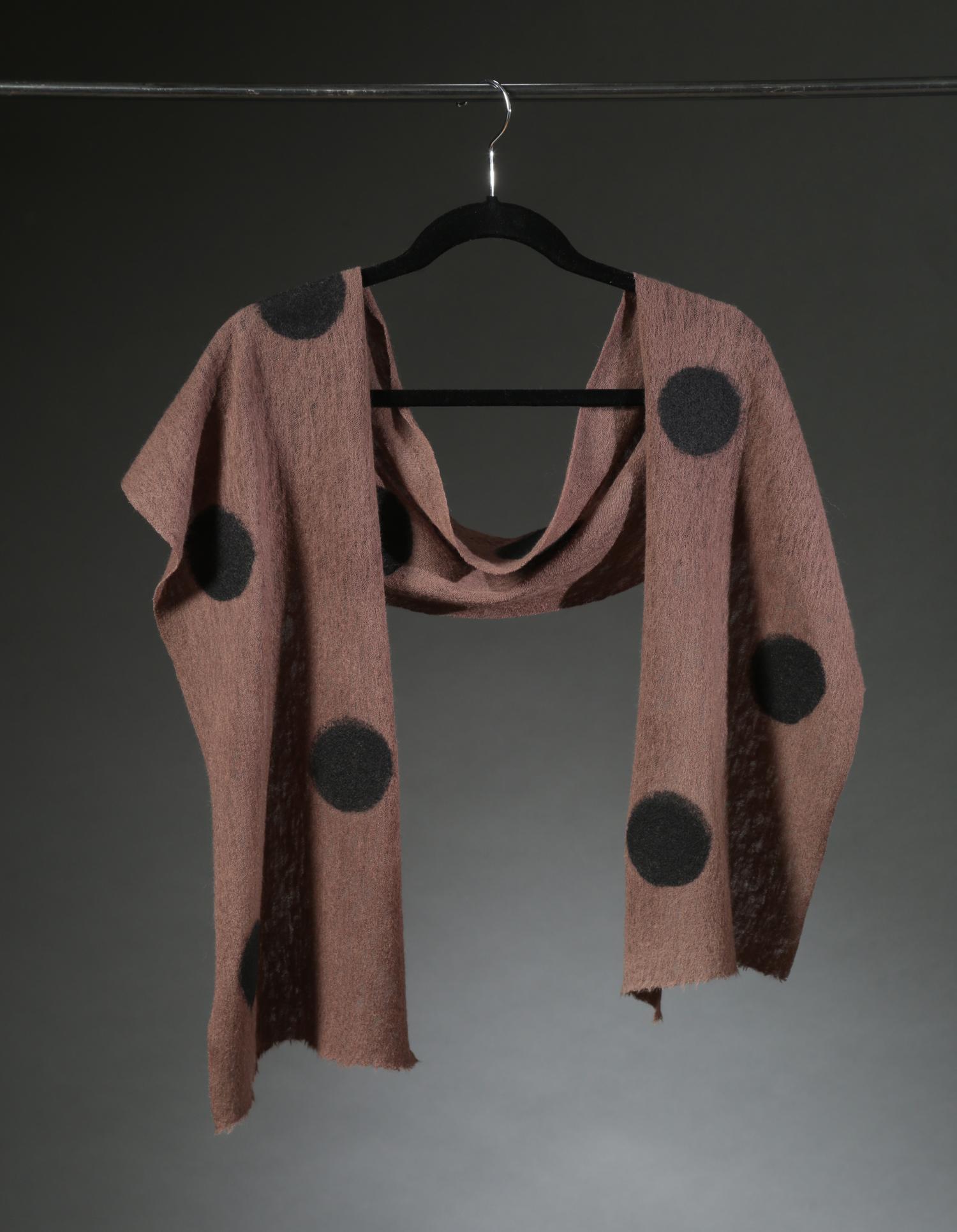 """""""Wool Knit Dot Scarf 1"""", Textile, 66"""" x 11"""", $175"""