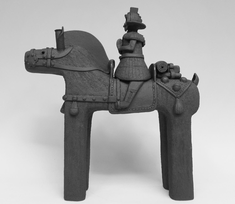 """""""Namaste Warrior on Horse"""",  15 ½"""" x 14 ¼"""" x 5 1/8"""" , $650.00"""
