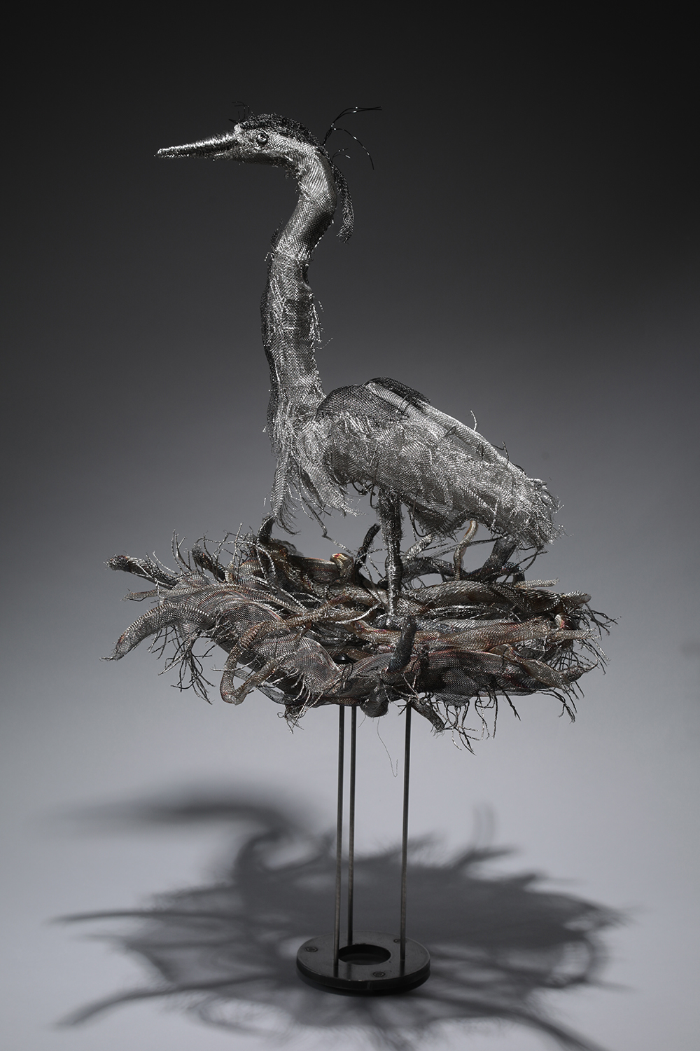 """Nest Sweet Nest"", 31"" tall, stainless steel and black aluminum wire meshes and stainless steel wire"