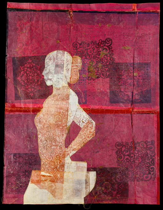 "Affirmation 1 Absolution""   Mixed media print collage with waxed paper  48"" x 48"""