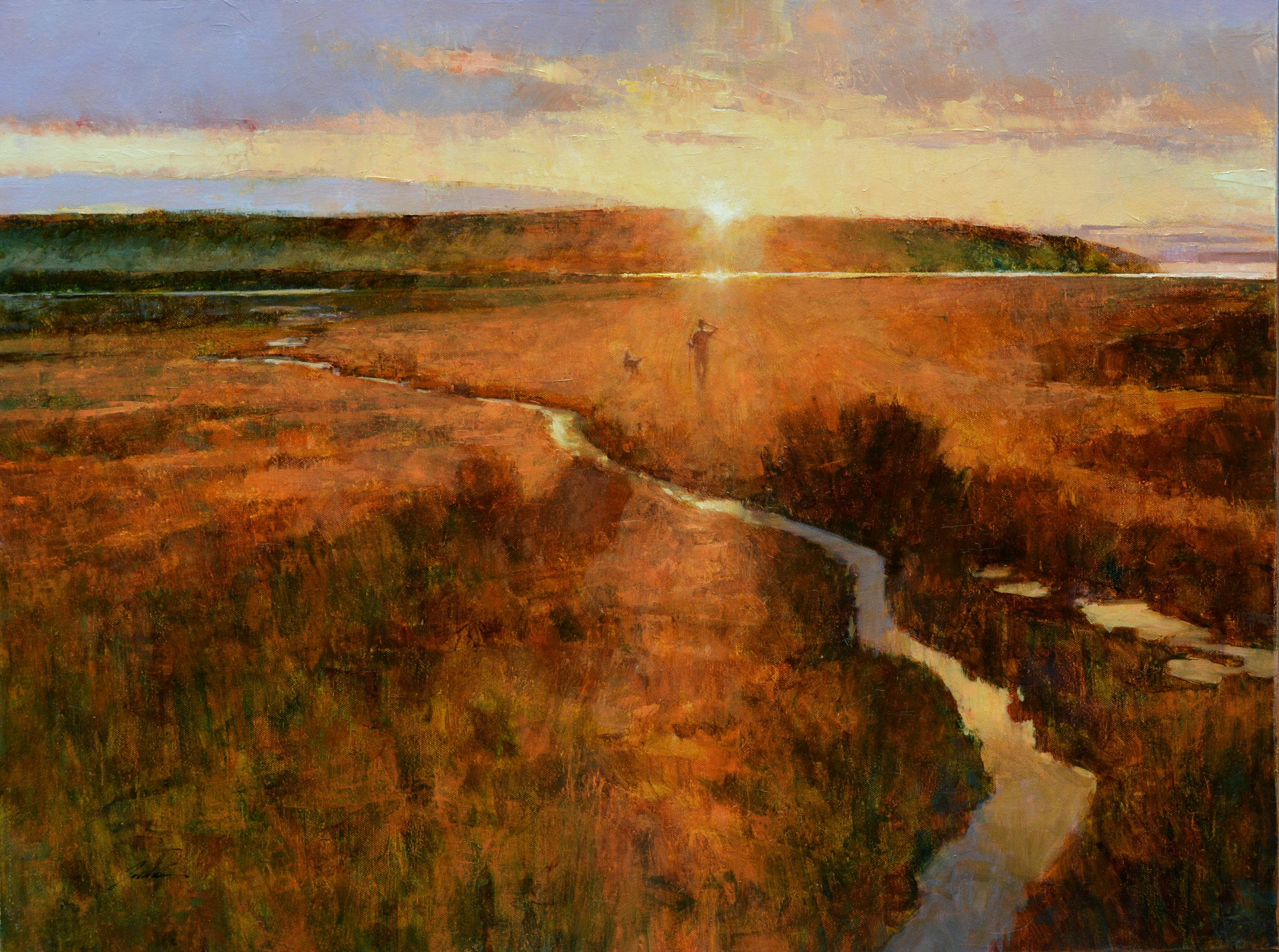 Sunrise Dog Walk  2018  oil  24 x 32  $3200.jpg