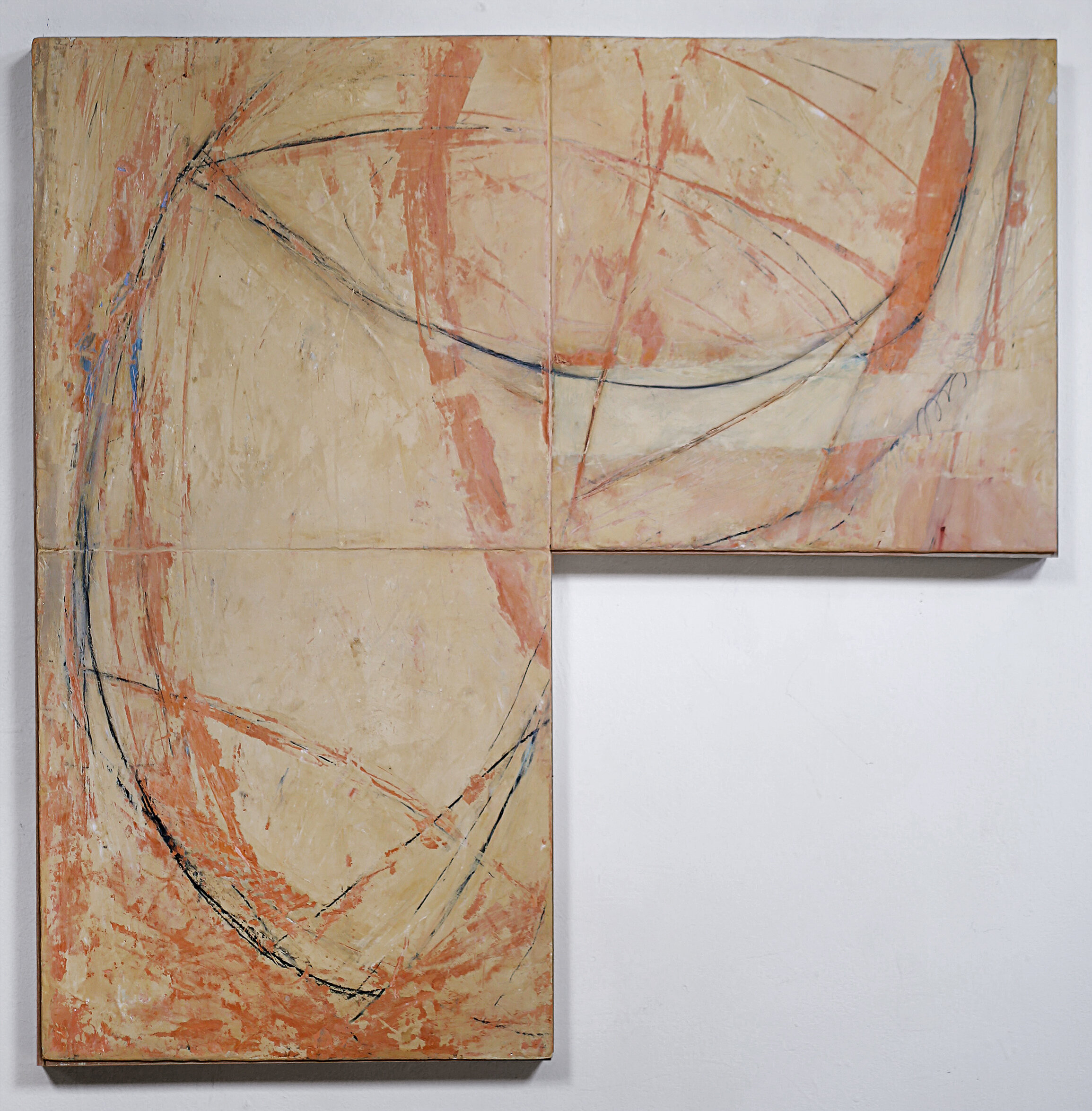 """Diagrammed"" SOLD lime plaster on wood 31.5"" x 31.5"" x 2"""