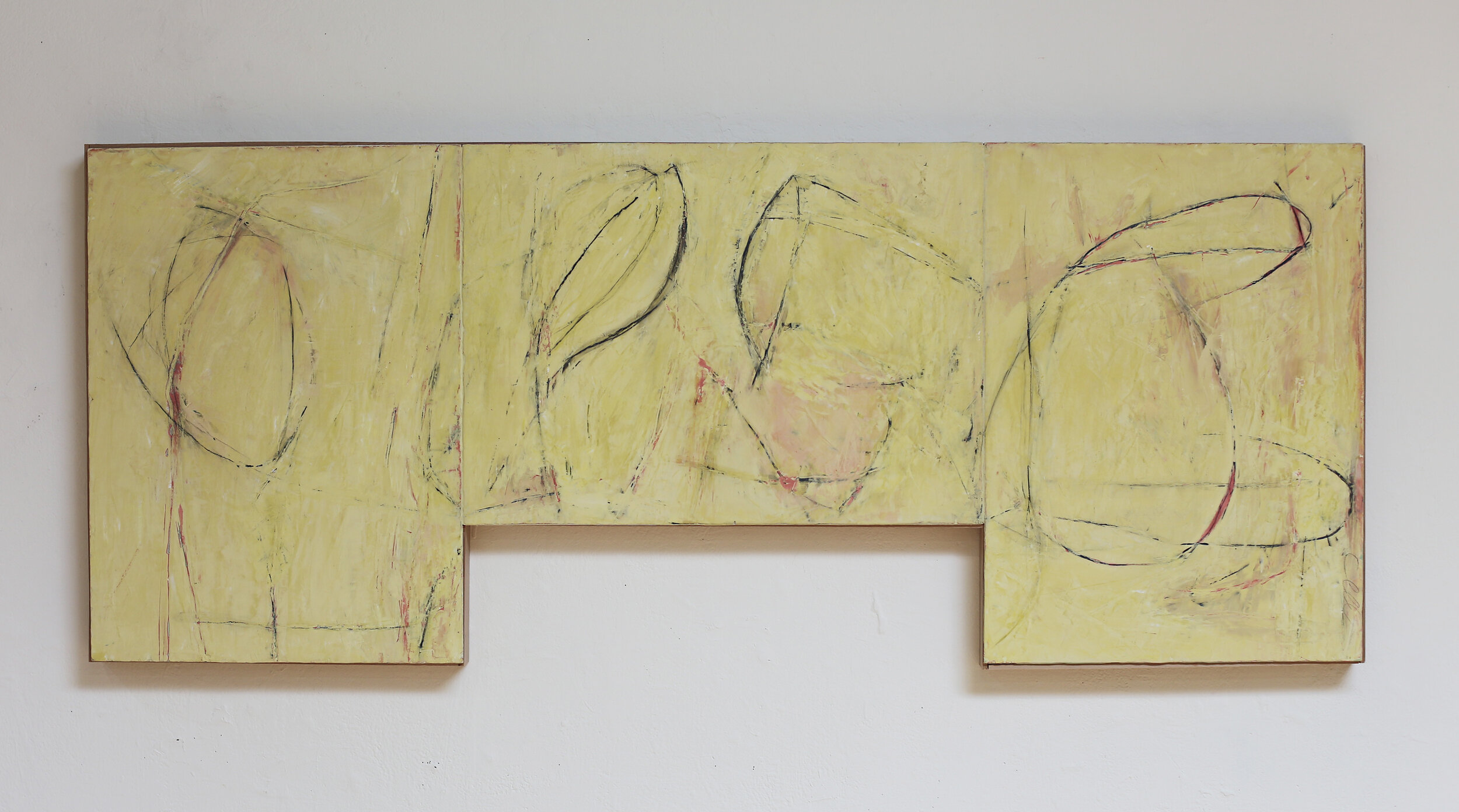 """Yellow Sketch"" lime plaster on wood 58.5"" x 23.5"" x 2"""