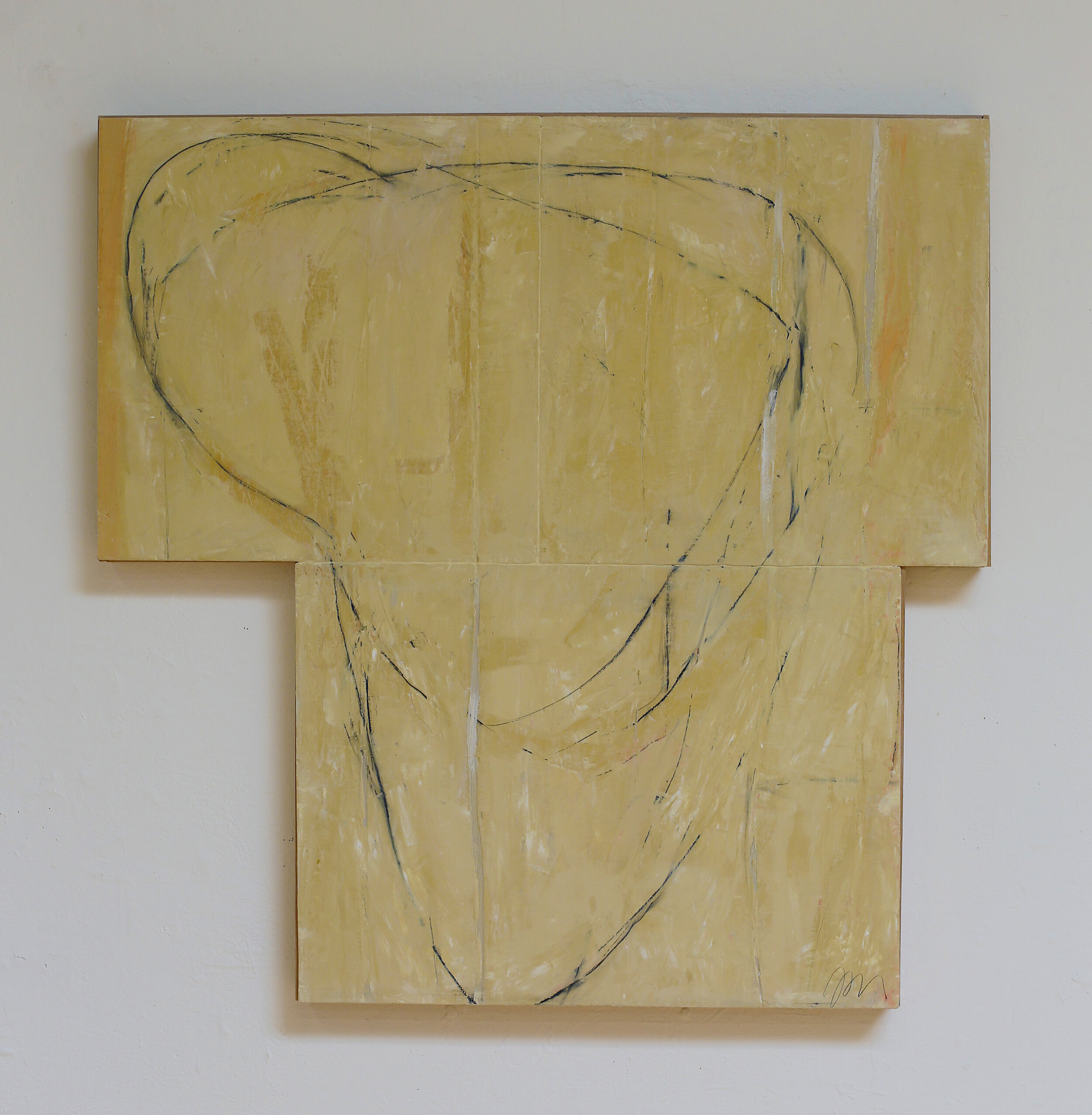 """Drawing"" lime plaster on wood, 35 x 35 x 2"""