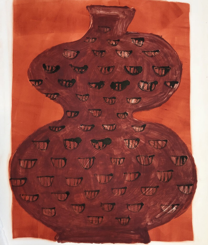 """Big Red Vase"" monoprint 28"" x 21 3/4"""