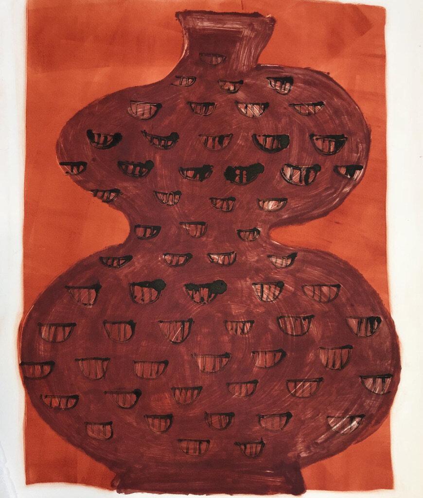 "Copy of ""Big Red Vase"" monoprint 28"" x 21 3/4"""