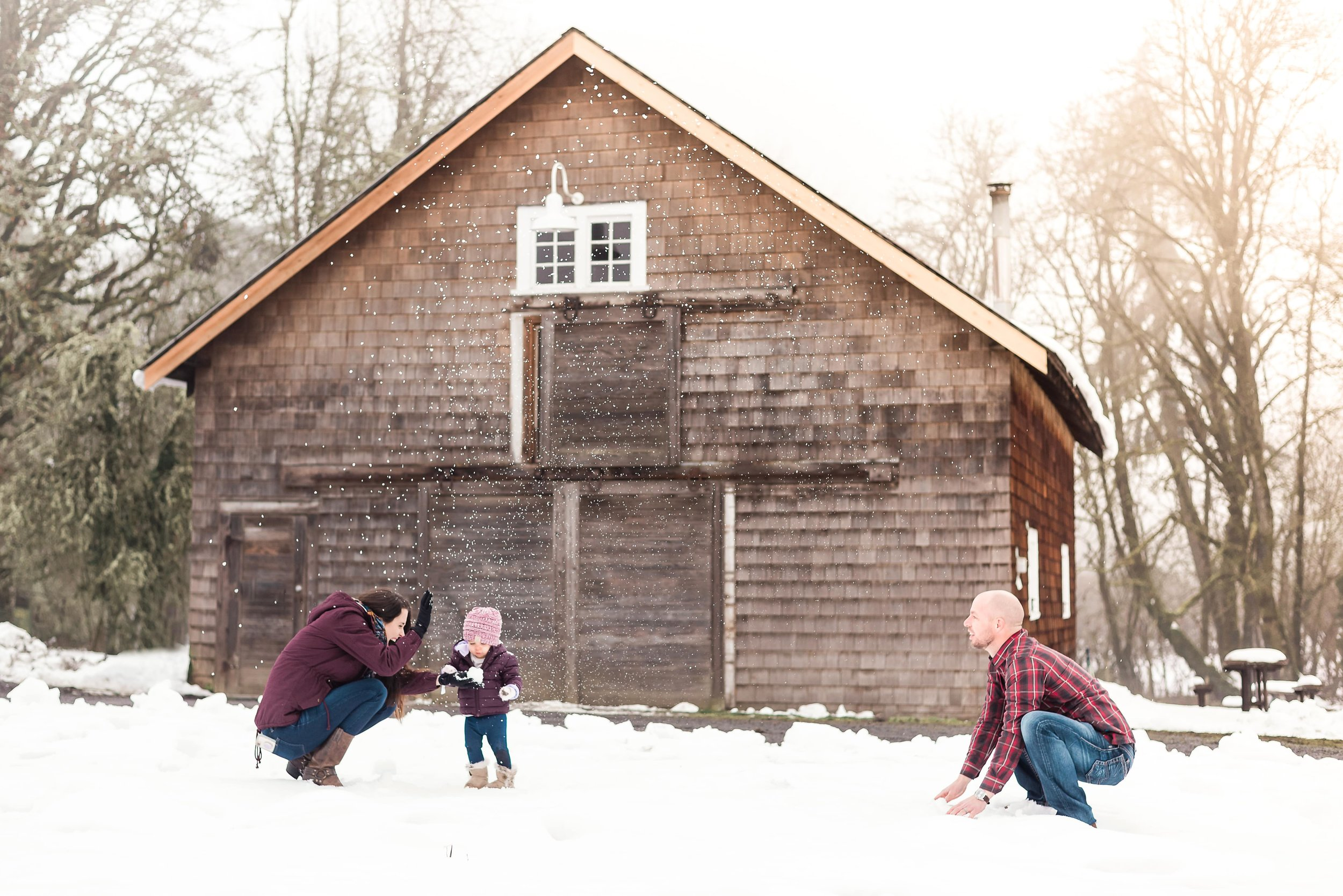 Family snowball fight at Dorris Ranch