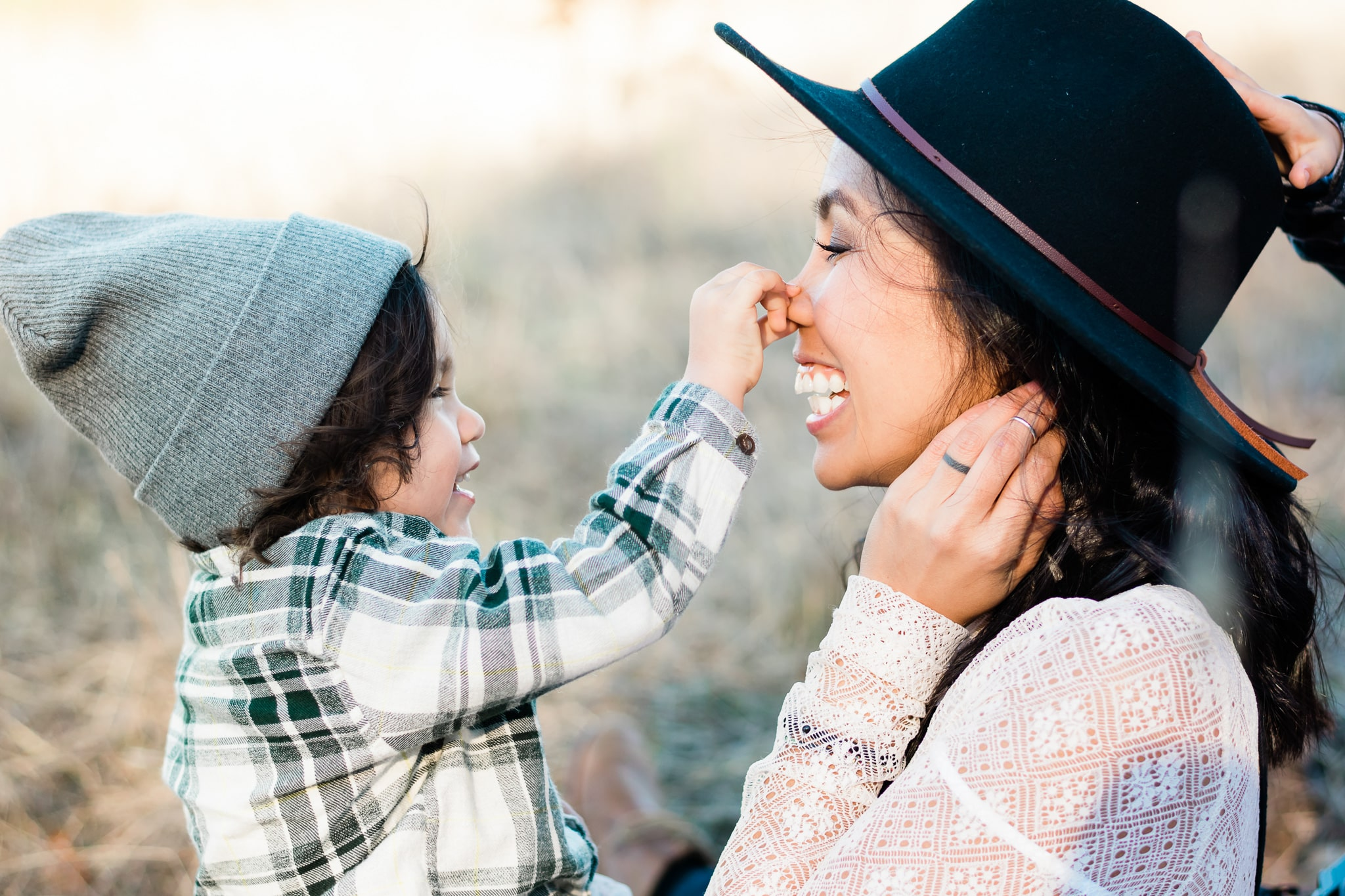 A silly moment between mother and son in Beaverton, Oregon