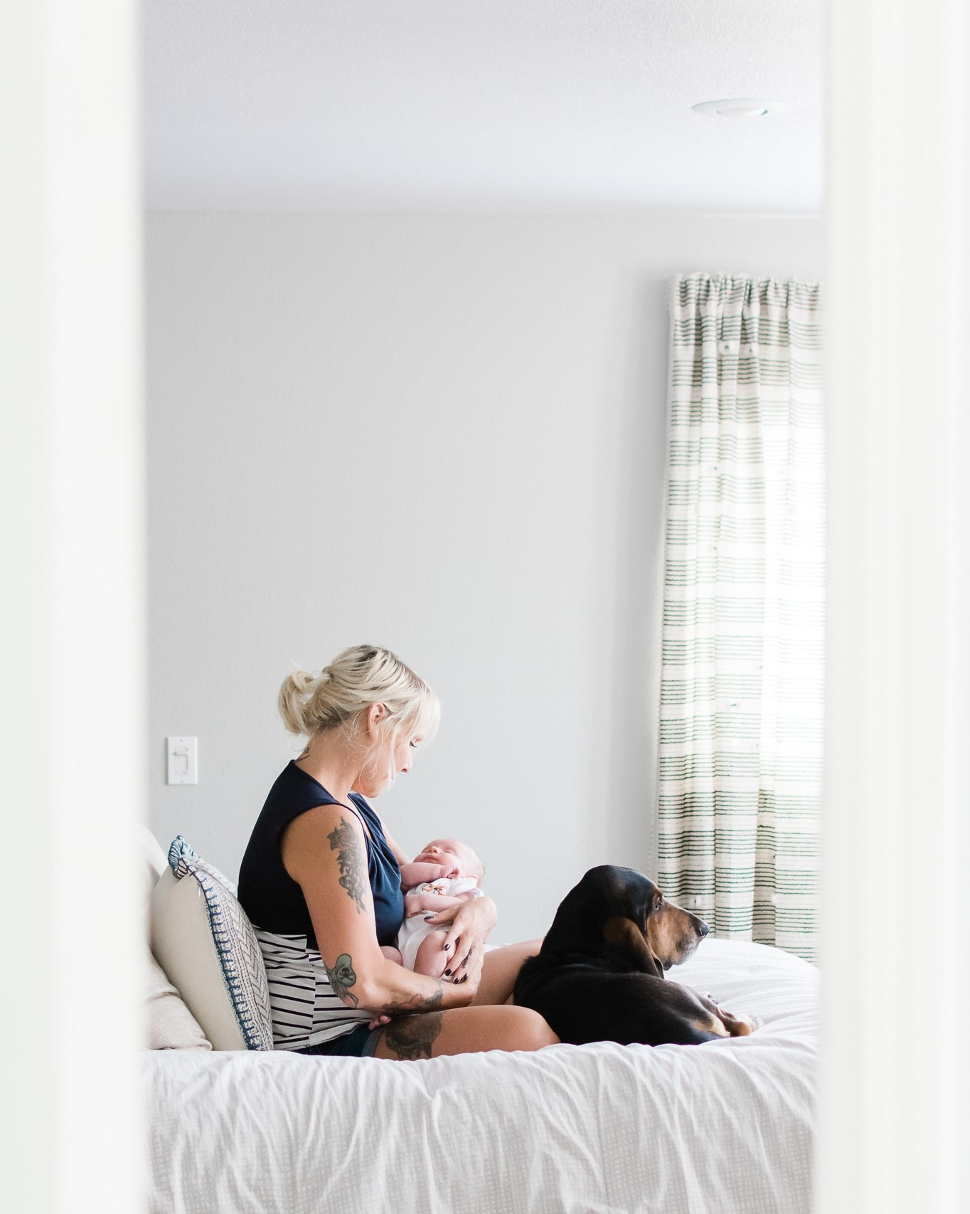 A natural light portrait of a mother with her dog and baby boy.