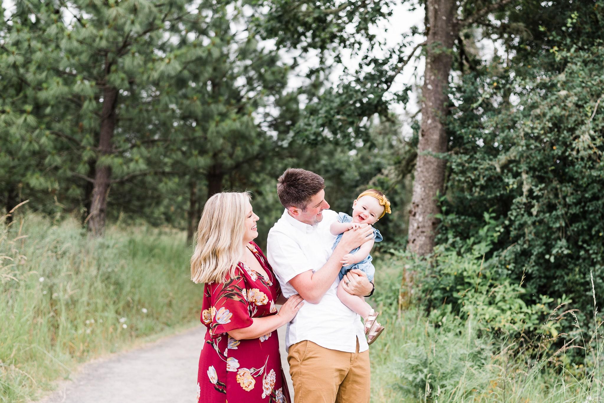 playful family photos, baby milestone photoshoot of baby Emilia in Portland, Oregon