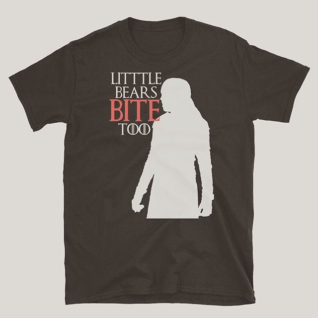 We also run a small shirt shop in our nonexistent free time. And, we're utterly inspired  by the monumental bravery of a little giant killer.  We wanted to share one of our new shirts. Leanna Mormont - Little bears bite too. For a short time, link in bio.  #gameofthrones #giantkiller #littlebear #gameofthronesshirt #got #asongoficeandfire #leannamormont #gotshirt #gameofthronesmemes #gameofthronesart #gameofthronescosplay #gameofthronesfanart #gameofthronesfans