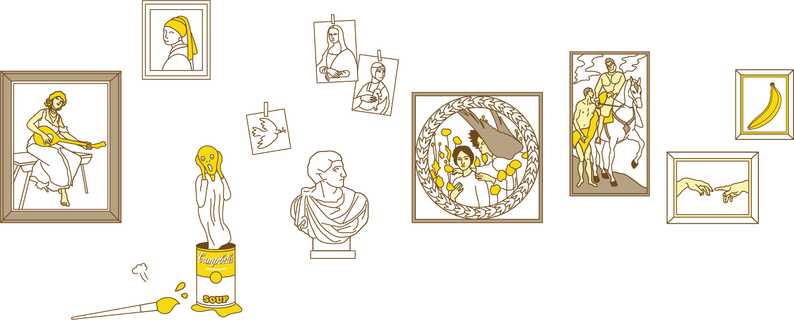 由左至右:法蘭契斯可.奧利弗《彈曼陀林的少女》,維梅爾《戴珍珠耳環的少女》,孟克《吶喊》,安迪·沃荷《金寶湯罐頭》,畢卡索《和平鴿》,米開朗基羅《布魯特斯胸像》,達文西《蒙娜麗莎的微笑》《抱貂的女子》,湯瑪斯.古柏.高奇《信息》,艾爾·葛雷柯《聖馬丁與乞丐》,米開朗基羅《創世紀》局部,安迪·沃荷《香蕉》