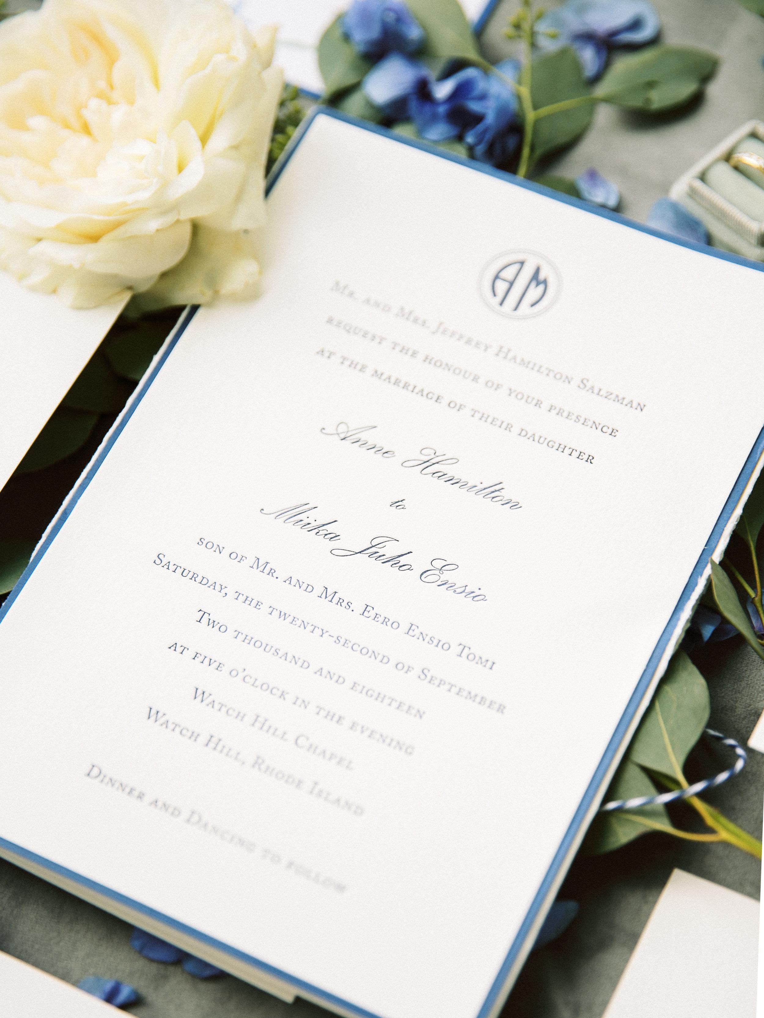 Cranes Invitation, Watch Hill Wedding, Rhode Island, New England Wedding Planner
