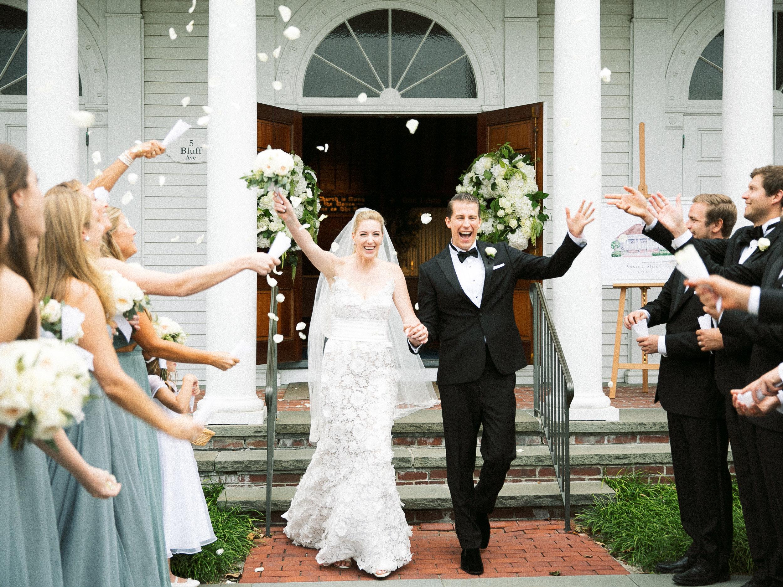 Watch Hill Chapel Wedding, Westerly RI, Classic New England Wedding, Coastal Wedding, September Wedding, Flower Petals, Nicole Simeral Wedding Planner.
