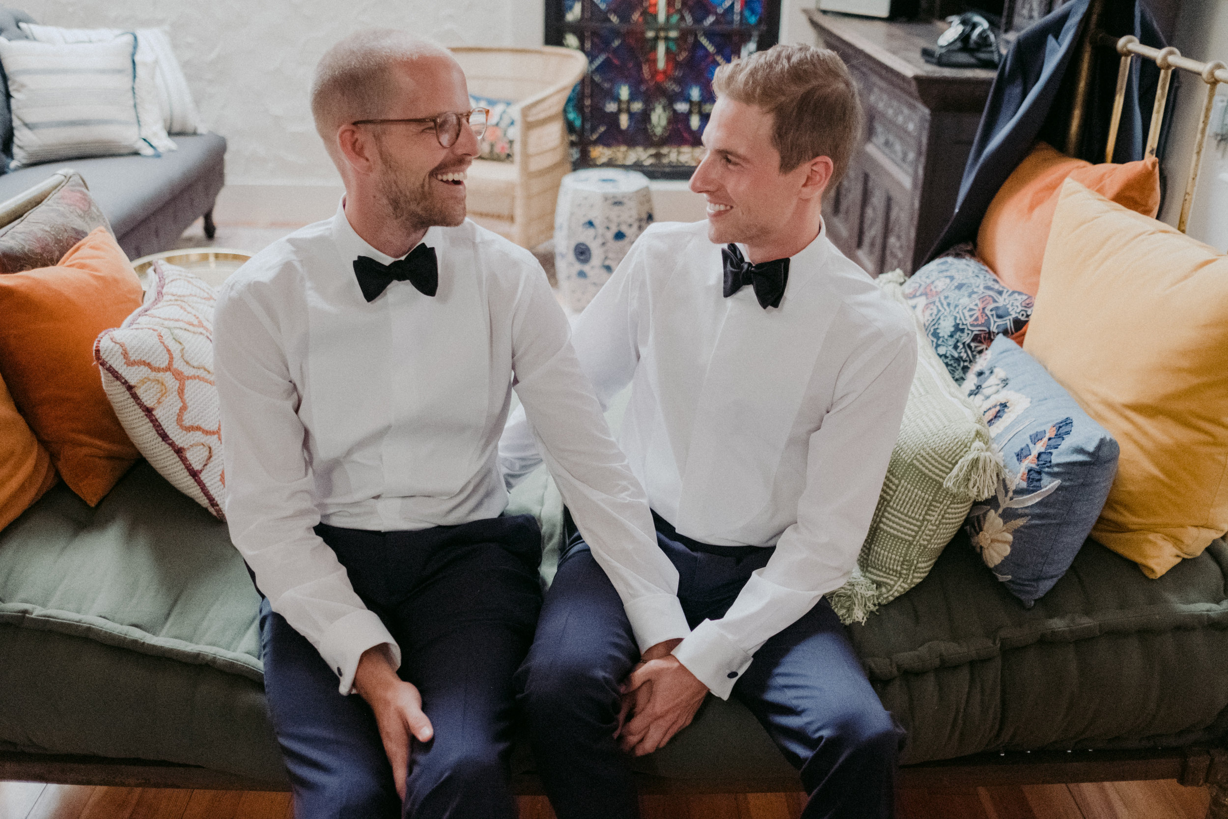 Same Sex Wedding in Provincetown, MA. Destination wedding planned by Nicole Simeral. Coastal Chic Wedding, Travel Wedding, Sperry Sailcloth Tent Wedding.  Getting Ready