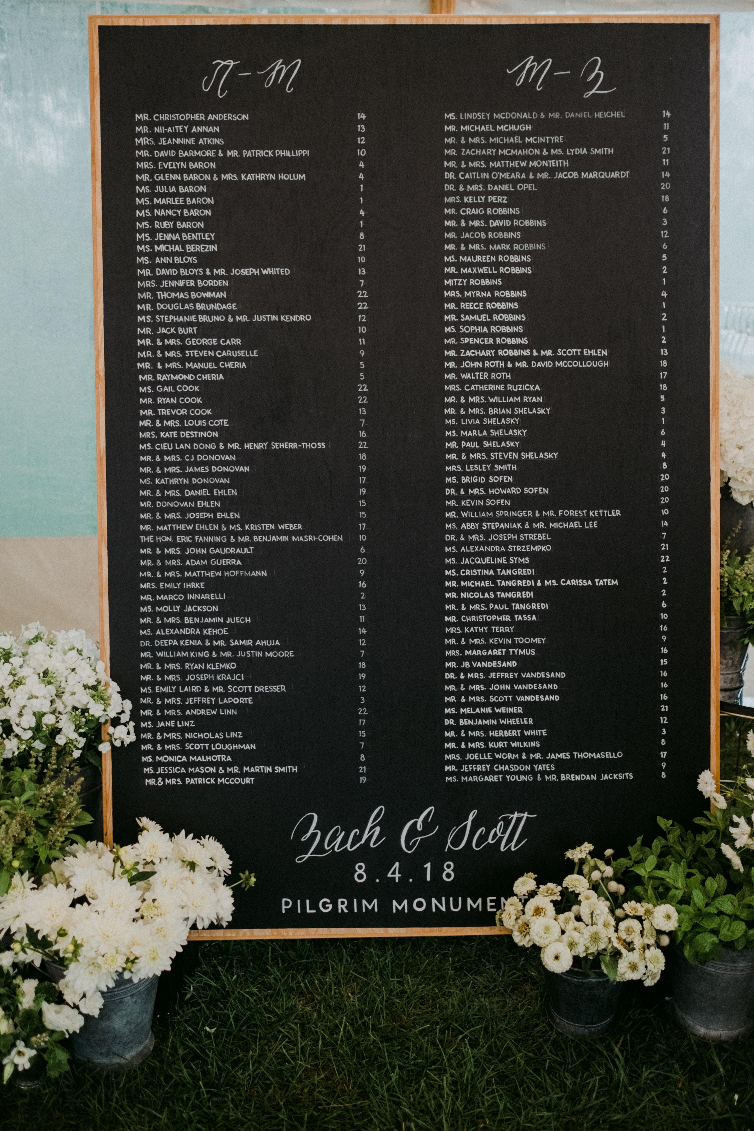 Same Sex Wedding in Provincetown, MA. Destination wedding planned by Nicole Simeral. Coastal Chic Wedding, Travel Wedding, Sperry Sailcloth Tent Wedding, escort card, seating chart, seating board