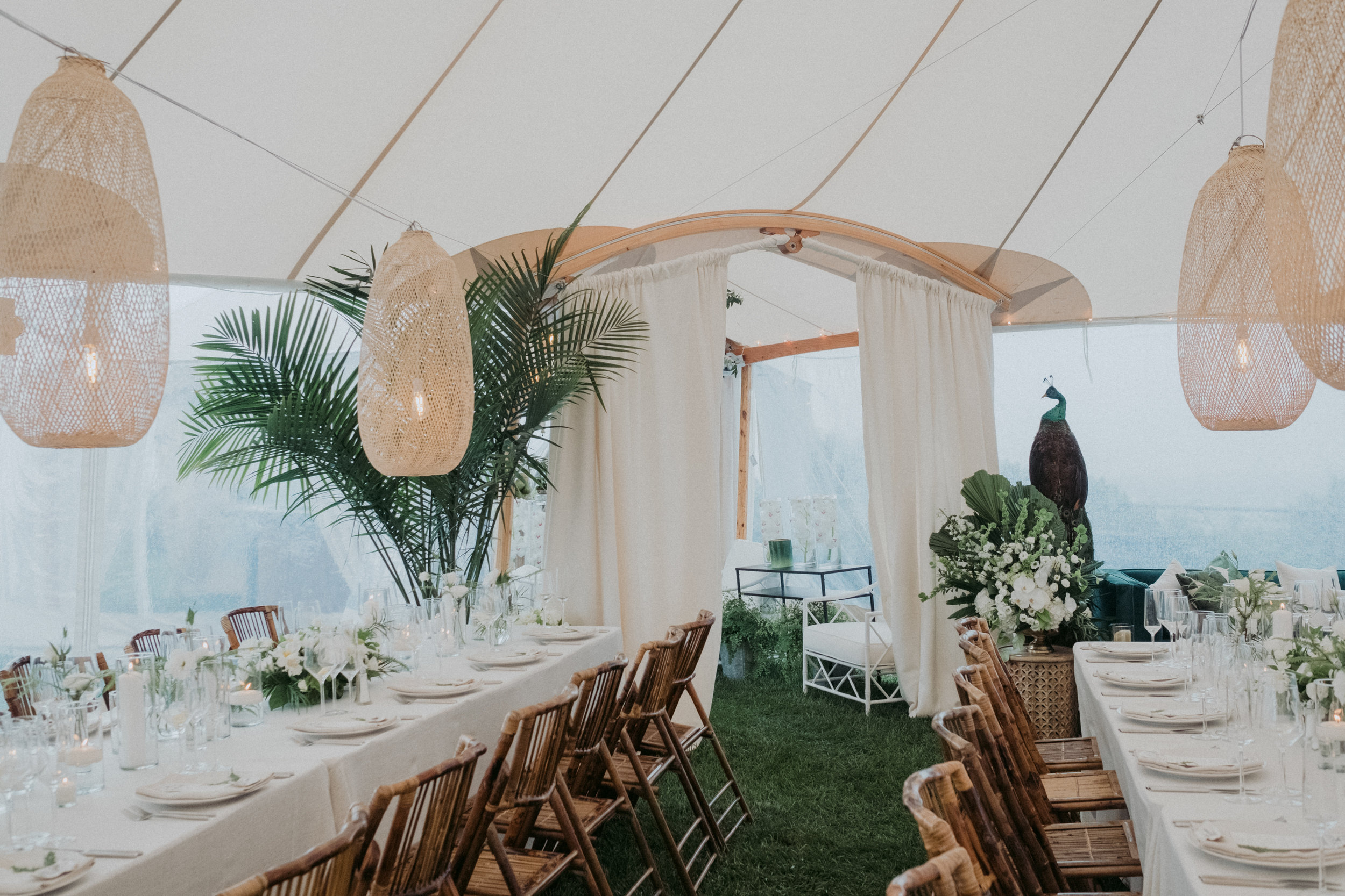 Same Sex Wedding in Provincetown, MA. Destination wedding planned by Nicole Simeral. Coastal Chic Wedding, Travel Wedding, Sperry Sailcloth Tent Wedding, bamboo folding chairs, Belfast linen, whites and greens , straw lantern, symmetry