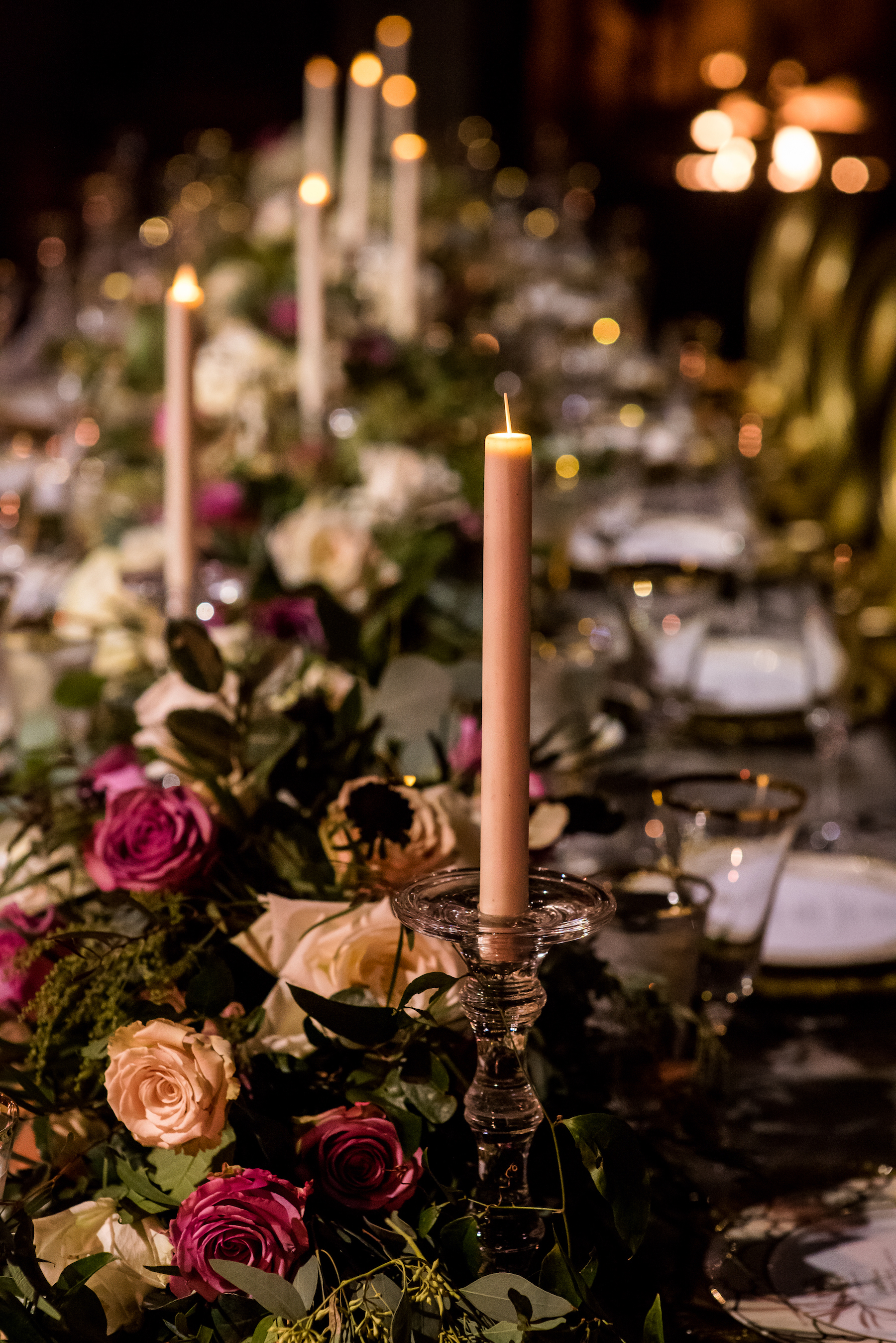 Devin-Dan-Winter-Wedding-Boston- Wedding-Destination-Wedding-Wedding-Planner-Nicole-Simeral-Harvard-Club-Decor-Flowers-Candles-Candlelight-Luxury-wedding-burgundy-purple-gold-faux-candles