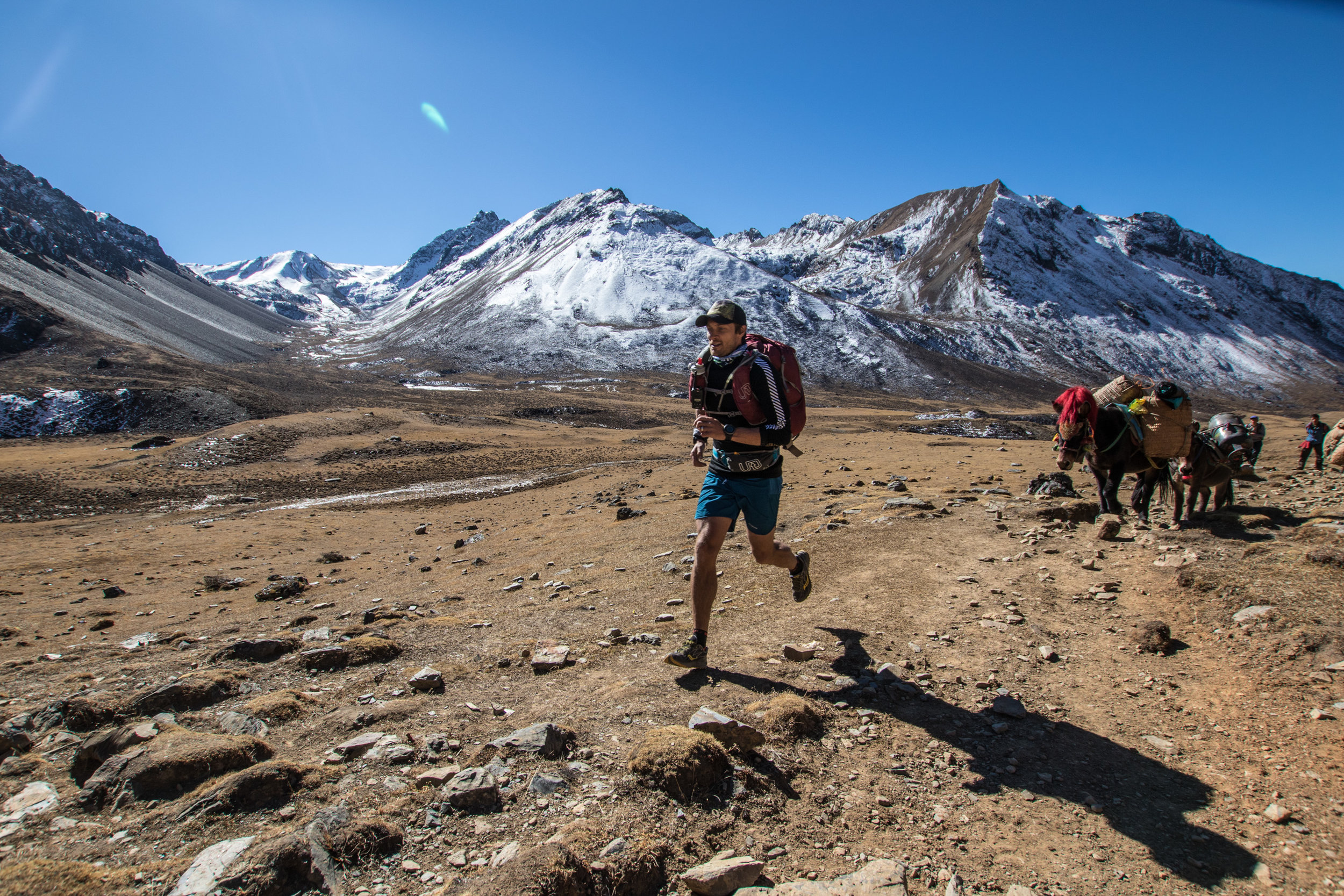 Tour de Trails' Owner and Lead guide, Chris Ord, pumped that he can run faster at 4300 metres in bhutan than a mule carrying ten times the weight. AT LEAST THE MULE'S NOT A HEEL STRIKER…BETTER HEADWEAR, tOO..