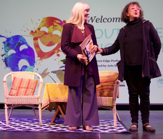 Therese Edmonds (Dunsborough) and Margot Edwards (Margaret River) welcome the sell-out crowd