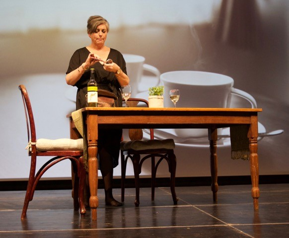 Donna Chatfield (Busselton) in her award-winning performance of David Rawet's (Bunbury) , 'The Wait'