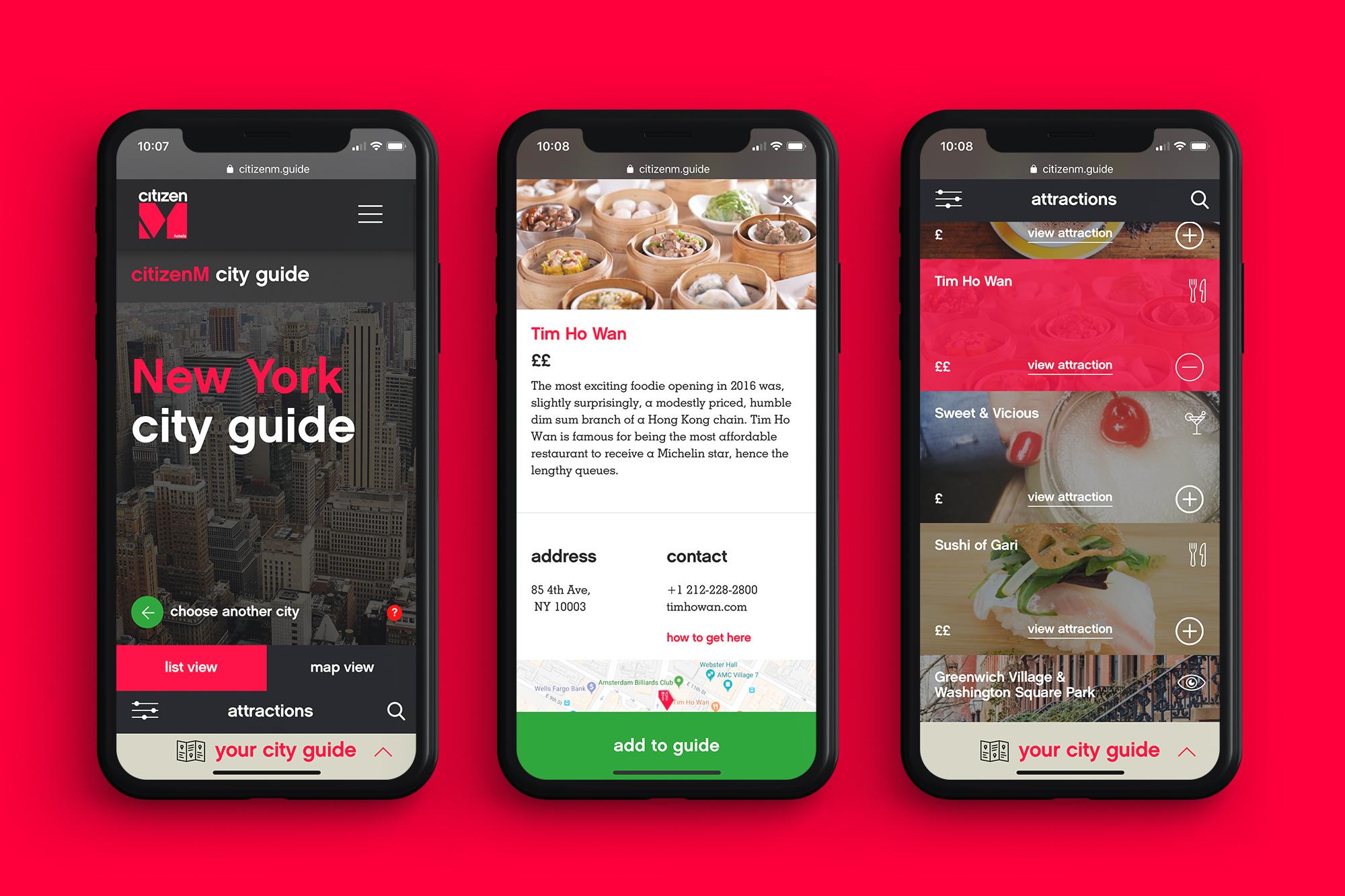 Web Design - citizenM - City Guides