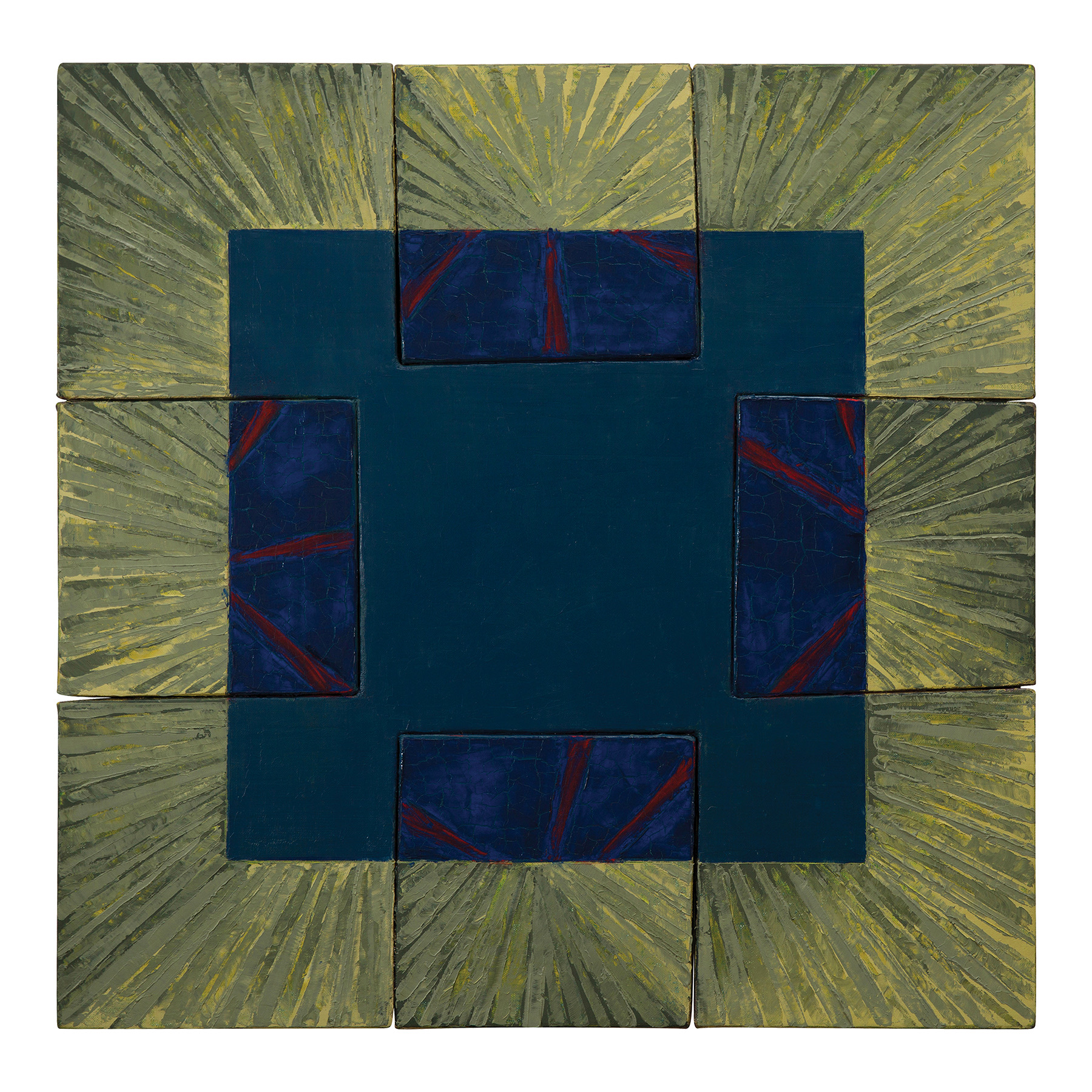 Out of the Blue (1991).  oil on joined linen canvas slabs, 26 x 26 inches..